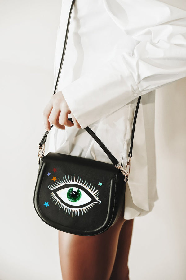 Eyes and Stars Black Bag + Cardholder Set