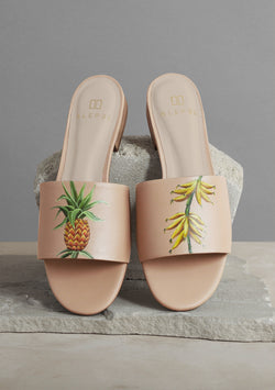 Pineapple and Banana Nude Leather Slide