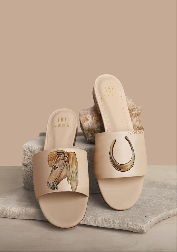 Horse and Horse Shoe Nude Leather Slide With Monogram