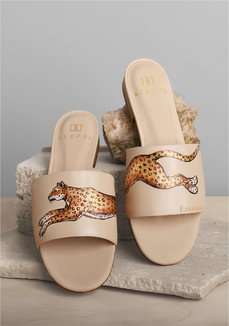Leopard Print Nude Leather Slide With Monogram