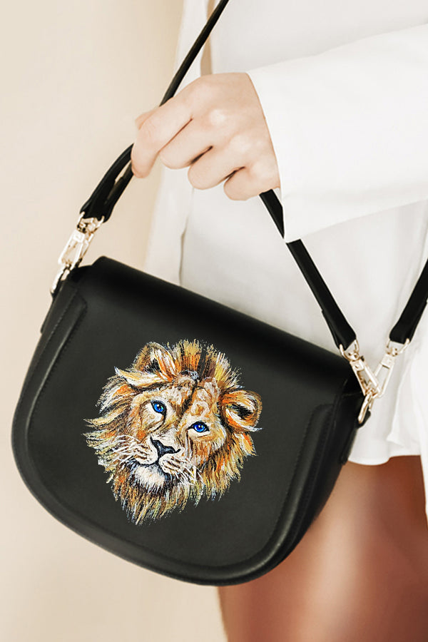 Lion Zodiac Hand-painted Black Leather Bag