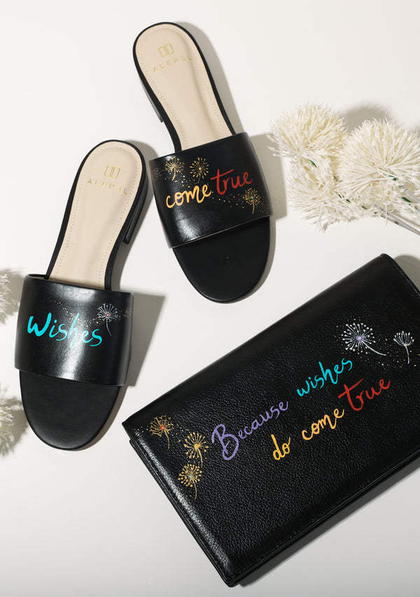 Make A Wish x Wishes Come True Black Leather Slide