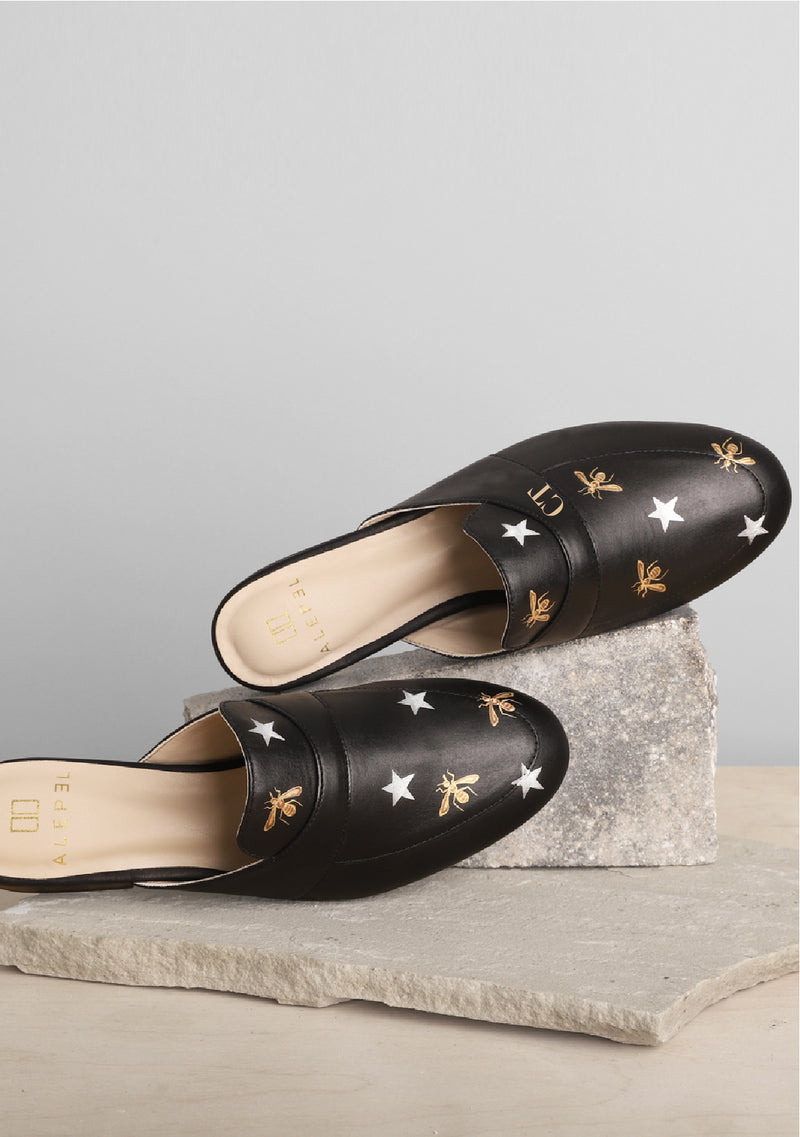 Metallic Bees and Stars Hand Painted Black Leather Mule
