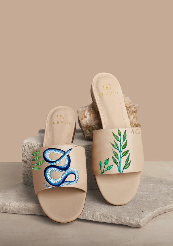 Colorful Snake Temptation Hand-painted Beige Leather Slide
