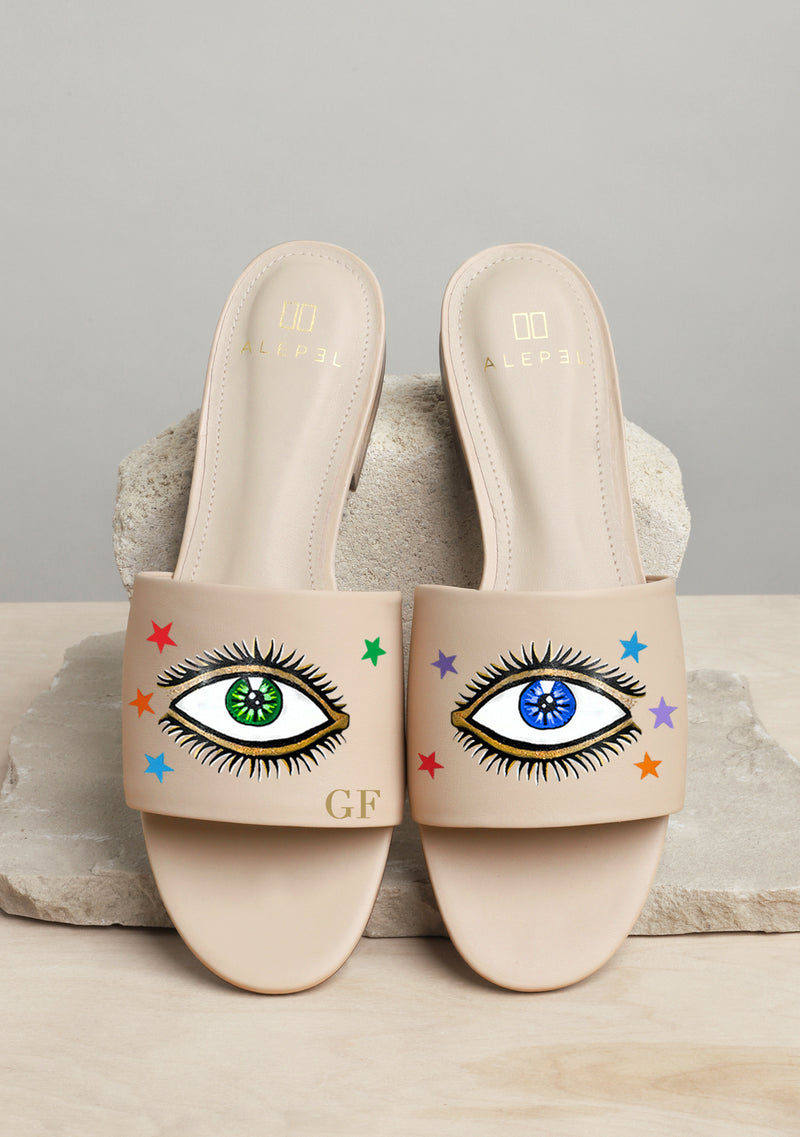 Eyes and Stars Hand-painted Beige Leather Slide