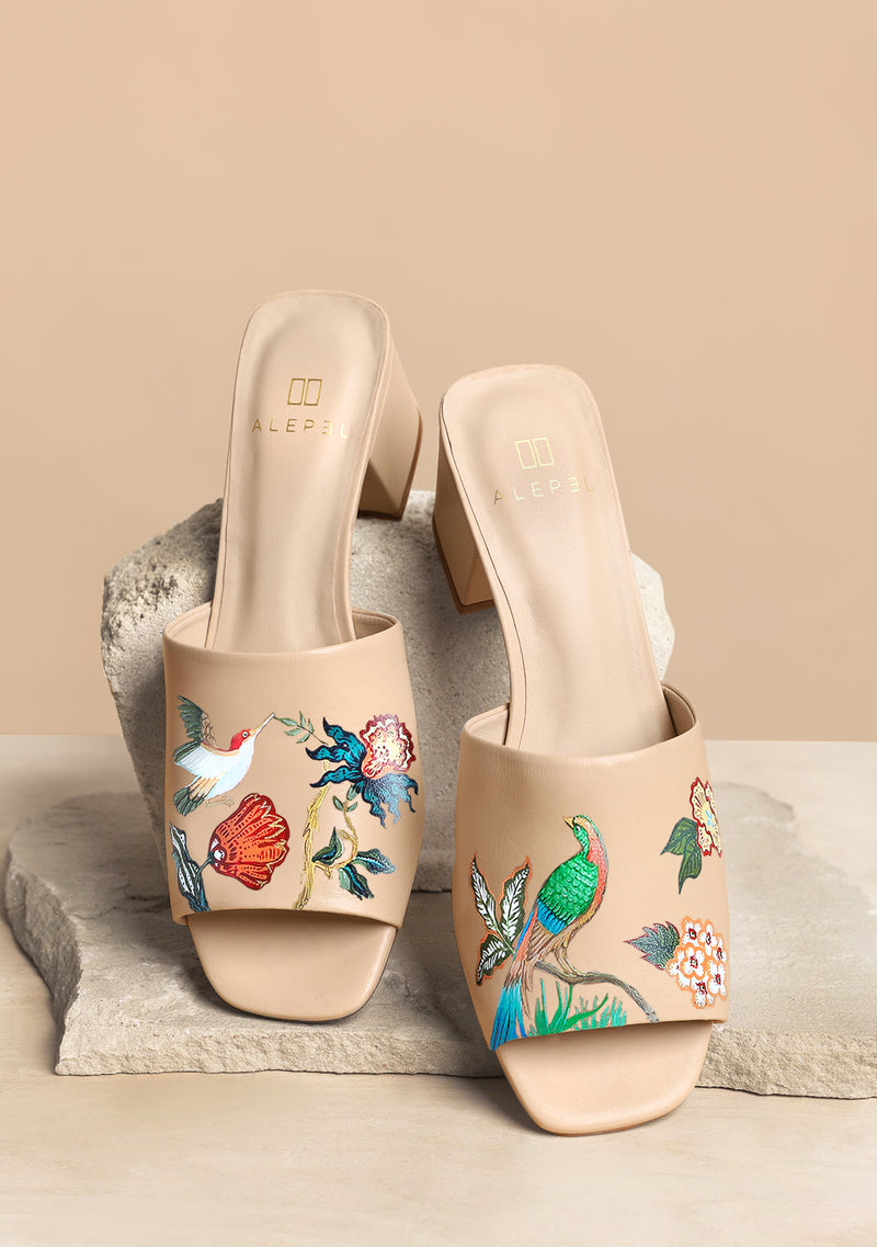 Hand Painted Bird Floral Nude Leather Block Heel