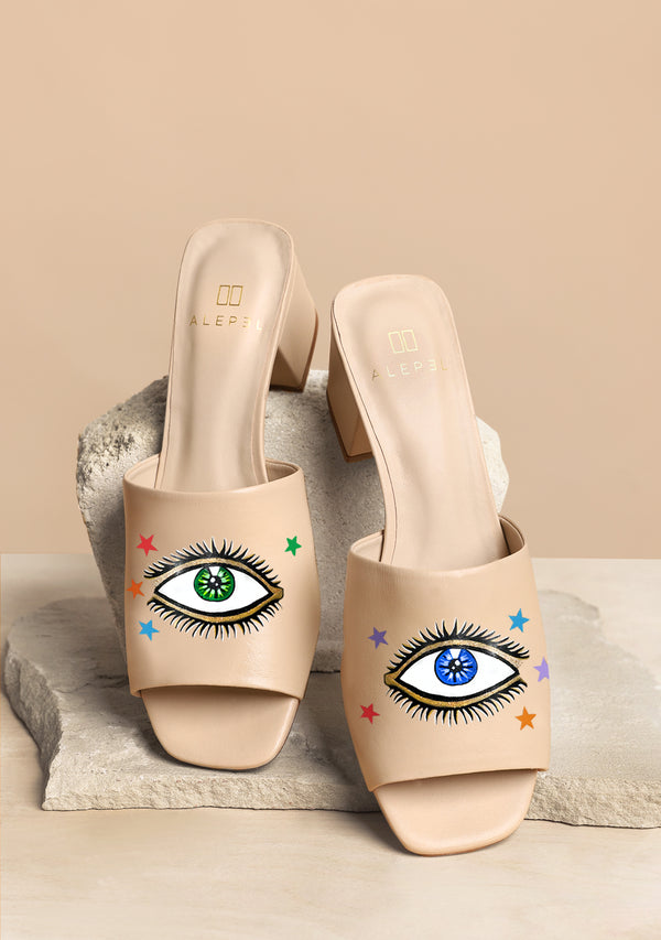 Hand Painted Eyes and Stars Nude Leather Block Heel