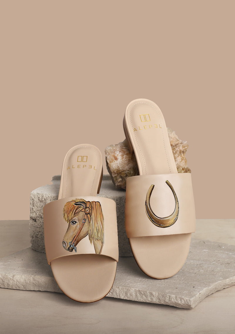 Horse and Horse Shoe Nude Leather Slide