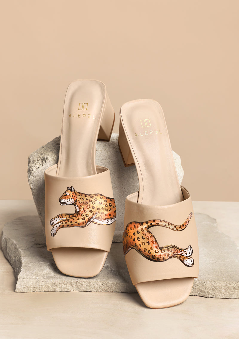 Hand Painted Running Leopard Nude Leather Block Heel