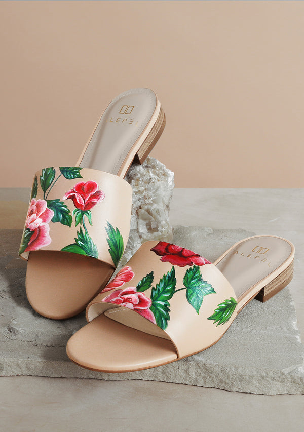Red and Pink Rose Nude Leather Slide Slide