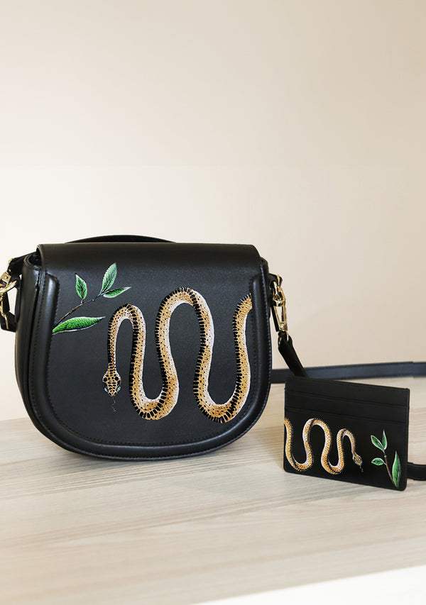 Serpent Black Bag + Cardholder Set