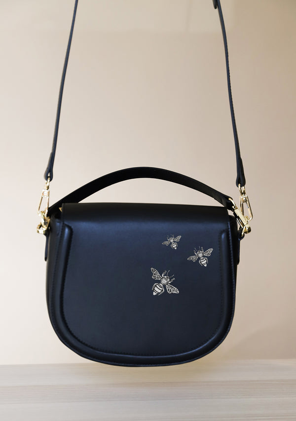 Silver Bees Hand-painted Black Leather Bag