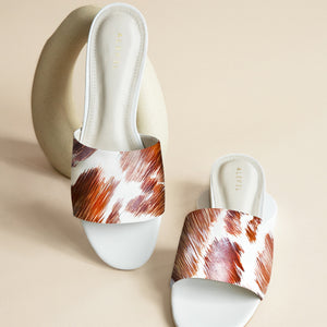 Cowhide White Slide