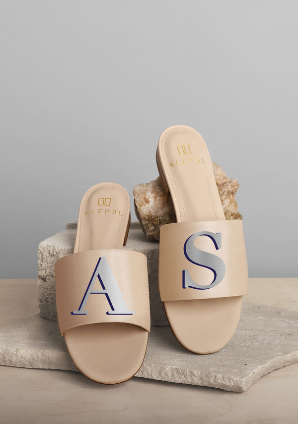 Monogram Beige Slide