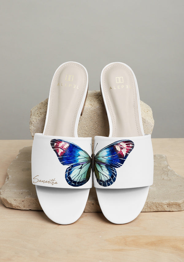 Butterfly Wings White Slide