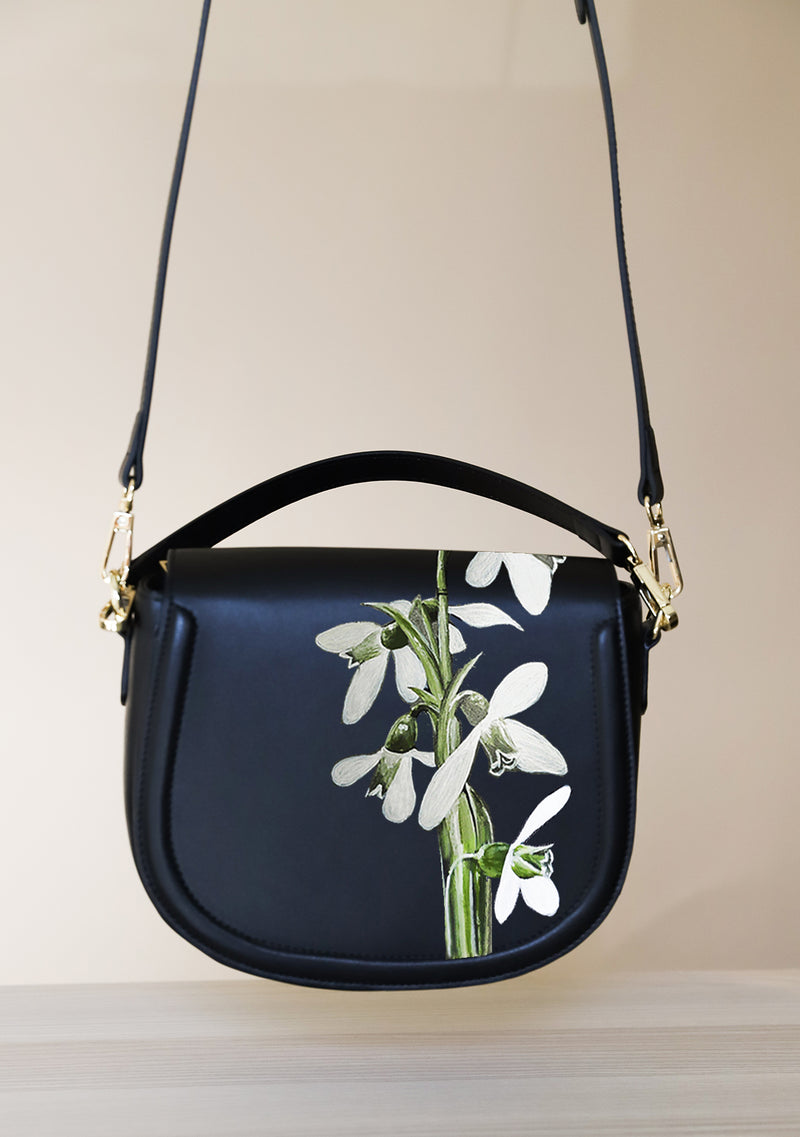 Snowdrop Flower Black Leather Bag