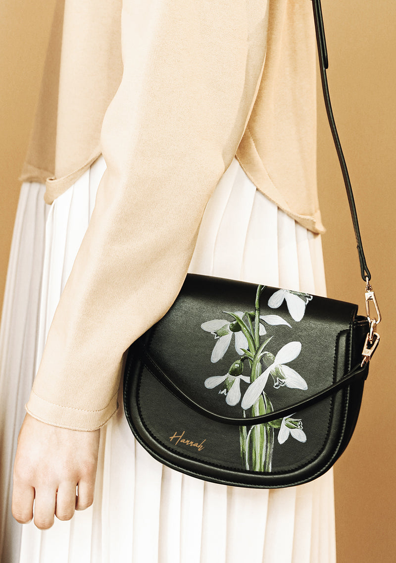 Snowdrop Flower Black Leather Bag With Monogram