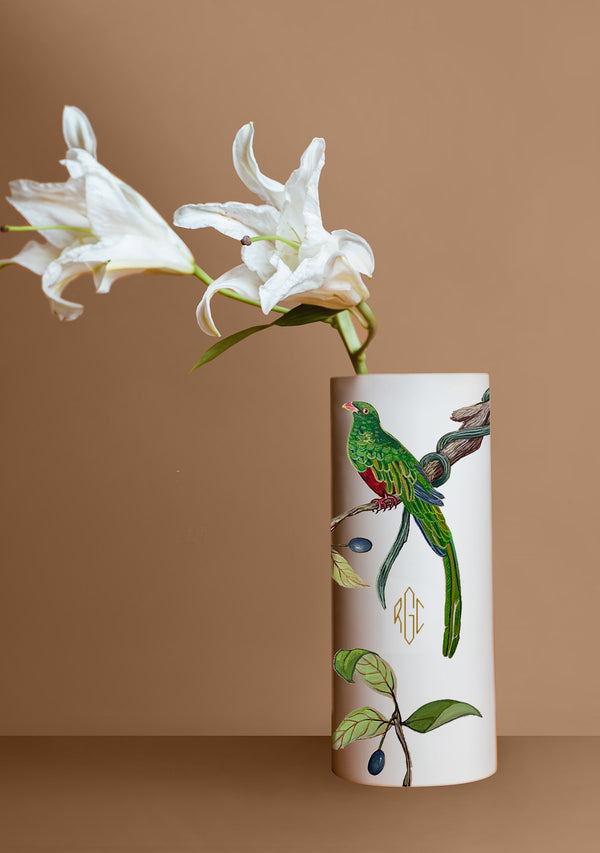 Bird and Olive Beige Vase