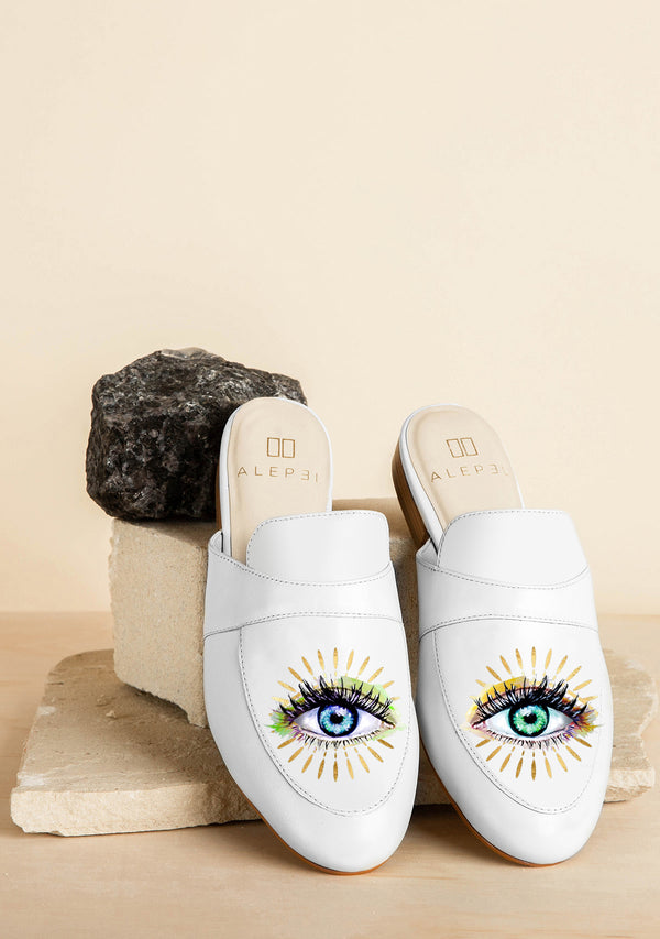 Intuition Eyes Zodiac Hand-painted White Leather Mule