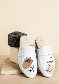 Twins Zodiac Hand-painted White Leather Mule