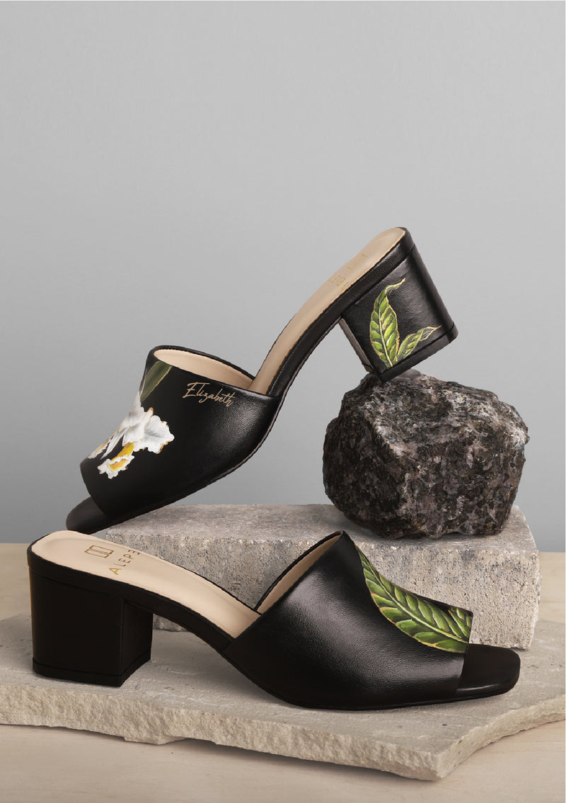 Orchid and Leaf Black Heel