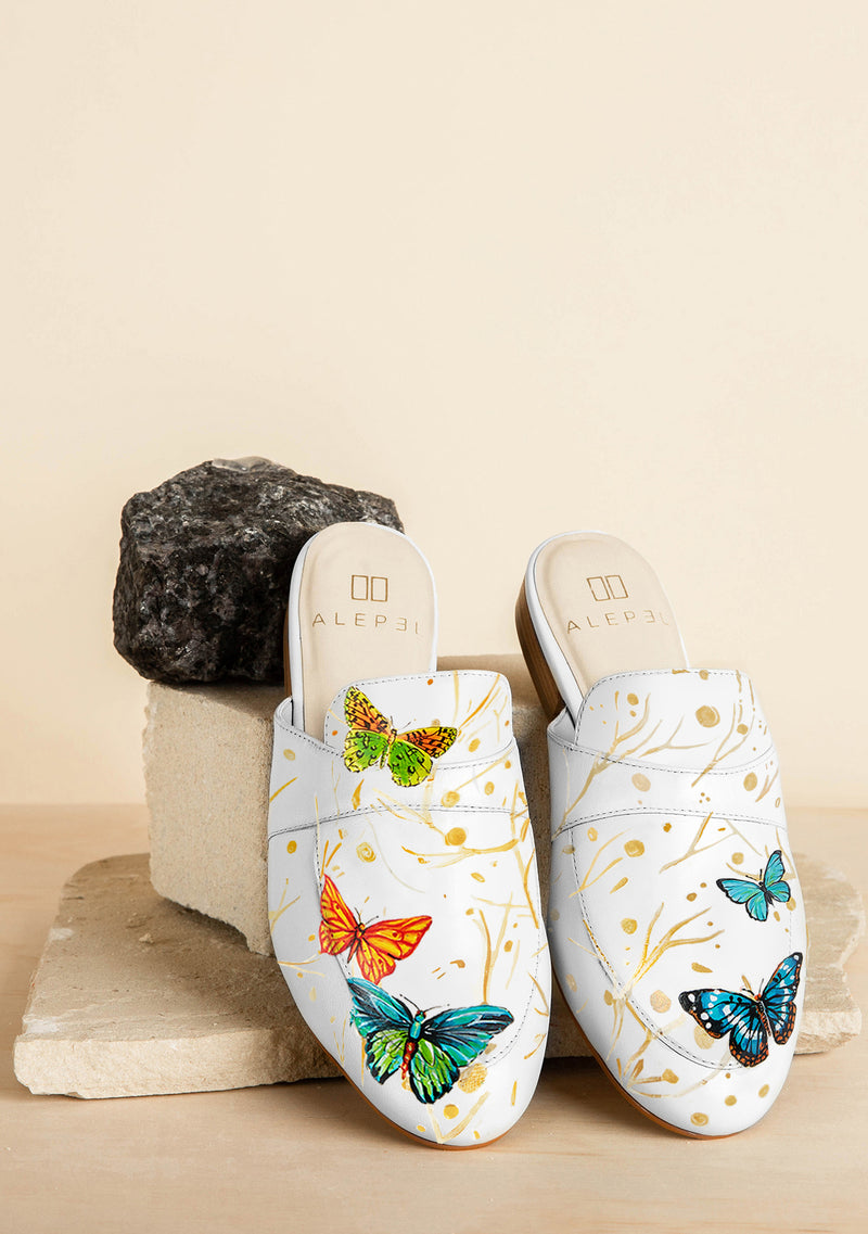 Hand Painted Neon Butterflies White Leather Mule