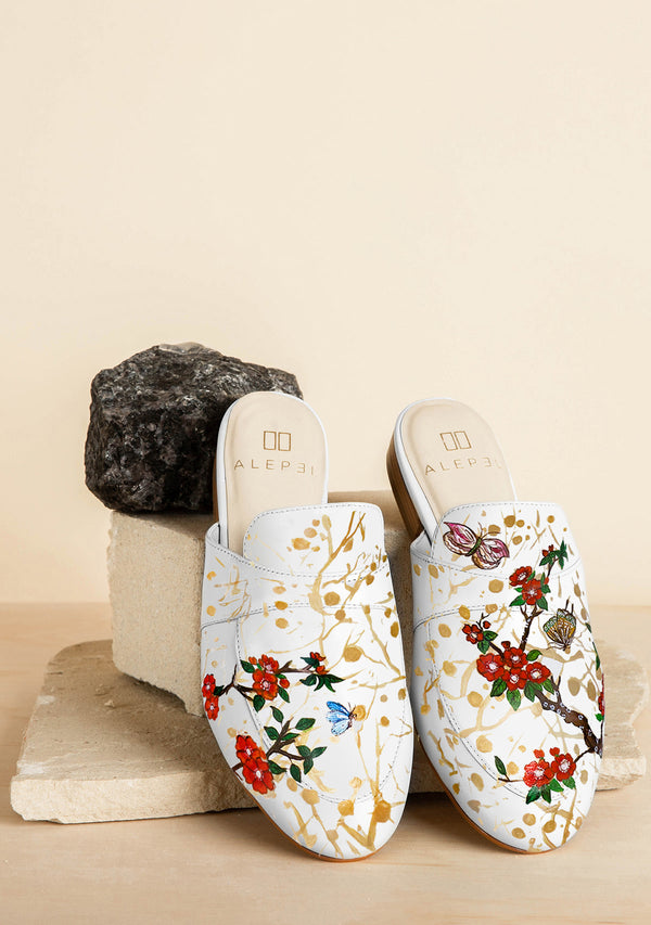 Crimson Hand Painted Blossom White Leather Mule
