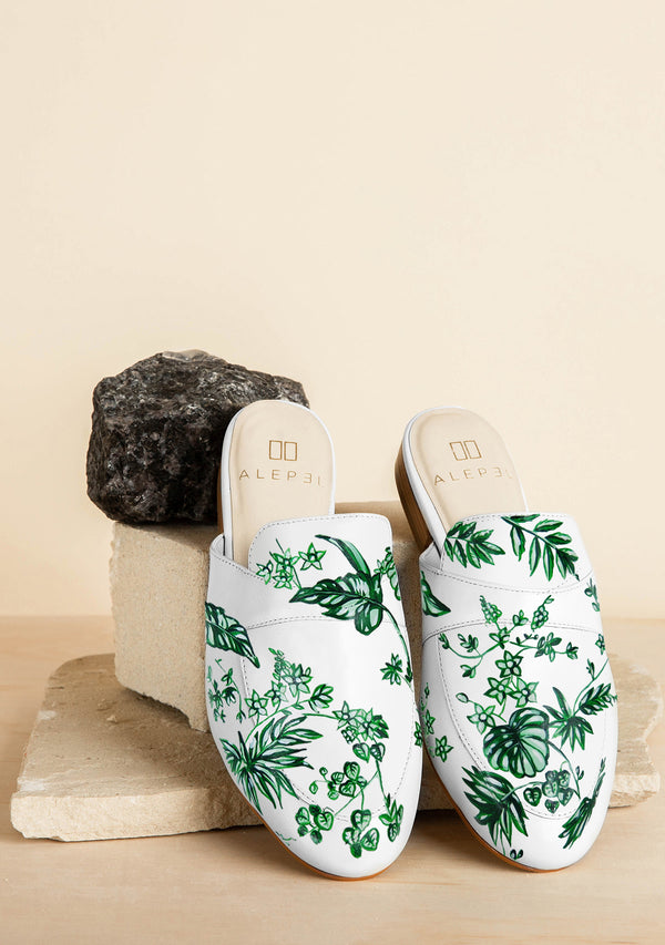 Emerald Leaf Landscape Hand-painted White Leather Mule