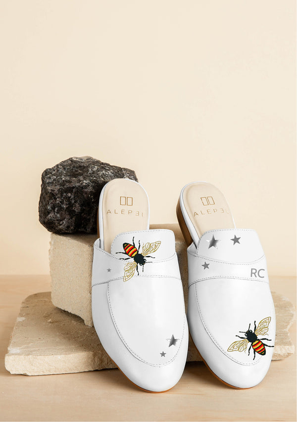 White Queen Bees and Stars Leather Mule