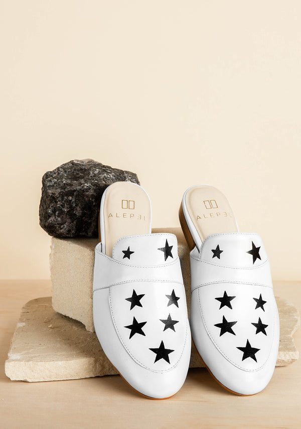 Hand Painted White mule with stars