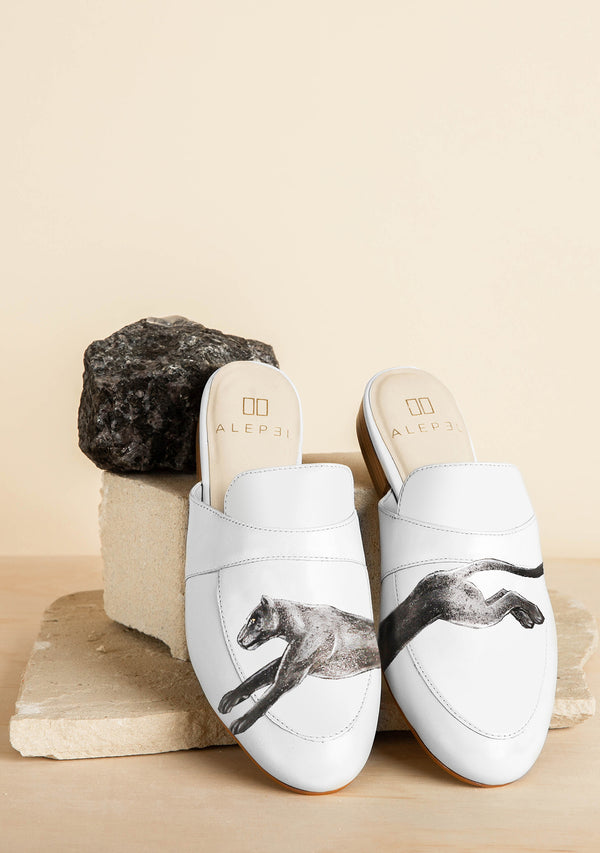 White Running Panther Leather Mule