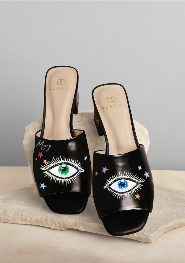 Eyes and Stars Hand-painted Black Leather Mule
