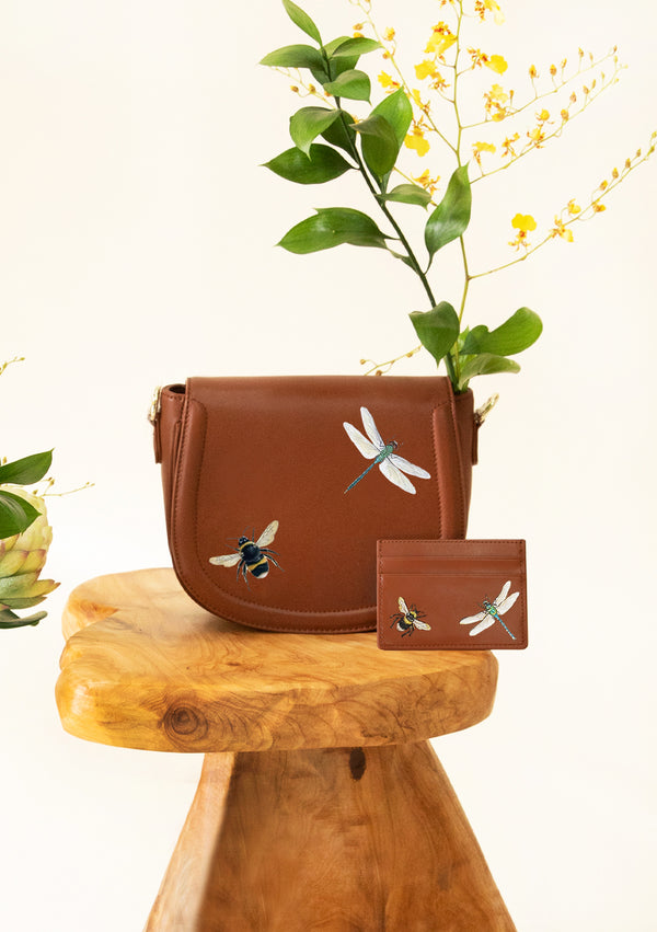 Dragonfly and Bee Brown Bag + Cardholder Set