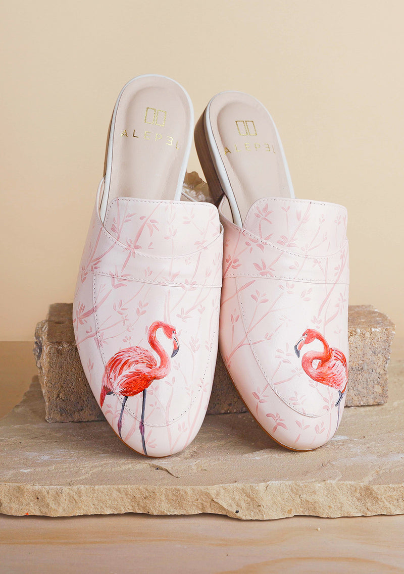 Hand Painted Pink Flamingo White Leather Mule