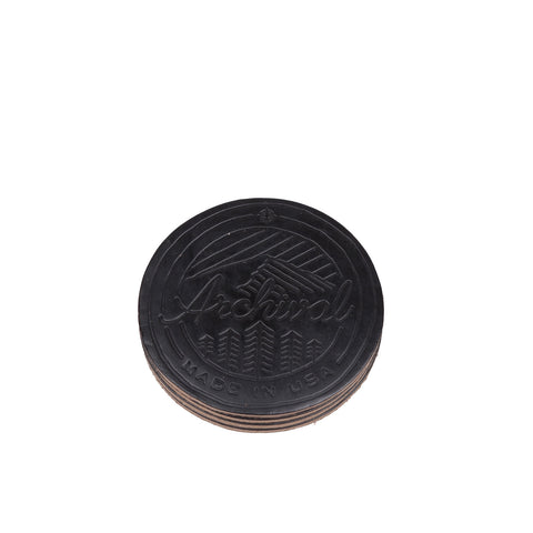 Archival Leather Coaster Set - Black