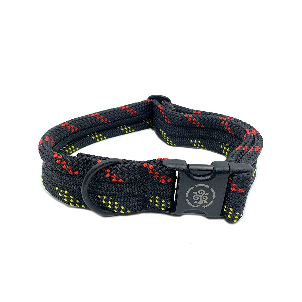 Recycled Climbing Rope Dog Collars: Black