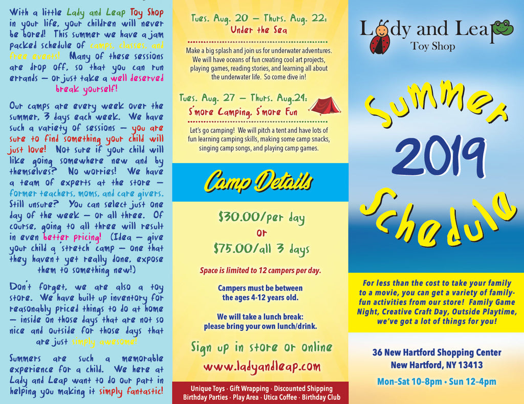 Lady and Leap Toy Shop - Summer Camp Brochure
