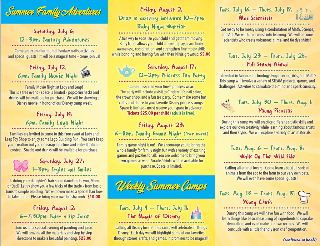 Summer Camps and Events Flyer | Lady and Leap Toy Shop