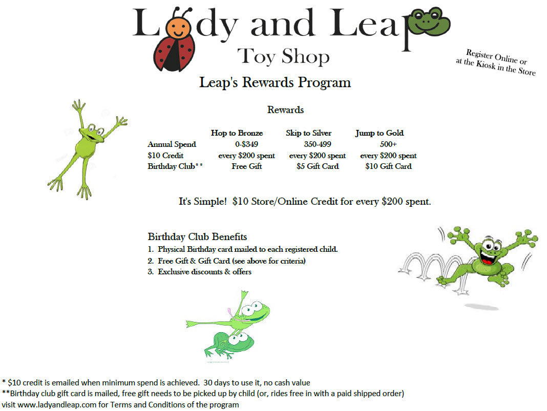 Lady and Leap Toy Shop Rewards Program