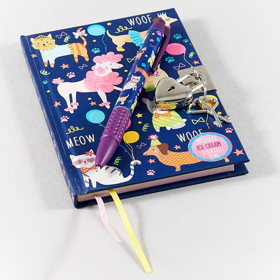 Floss and Rock Pets Lockable Diary Notebook with ice cream scented pen