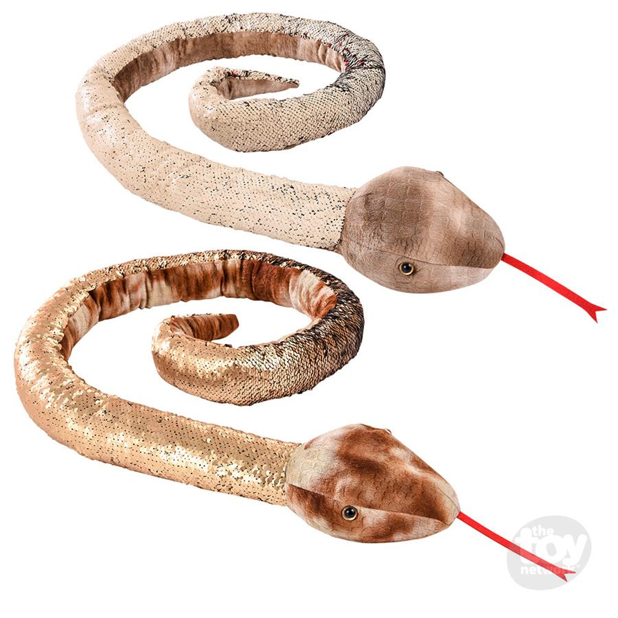 "Sequinimals - 67"" Natural Snake Sequin Stuffed Animal"
