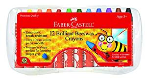 Faber Castell 12 ct Brilliant Beeswax Crayons in storage case