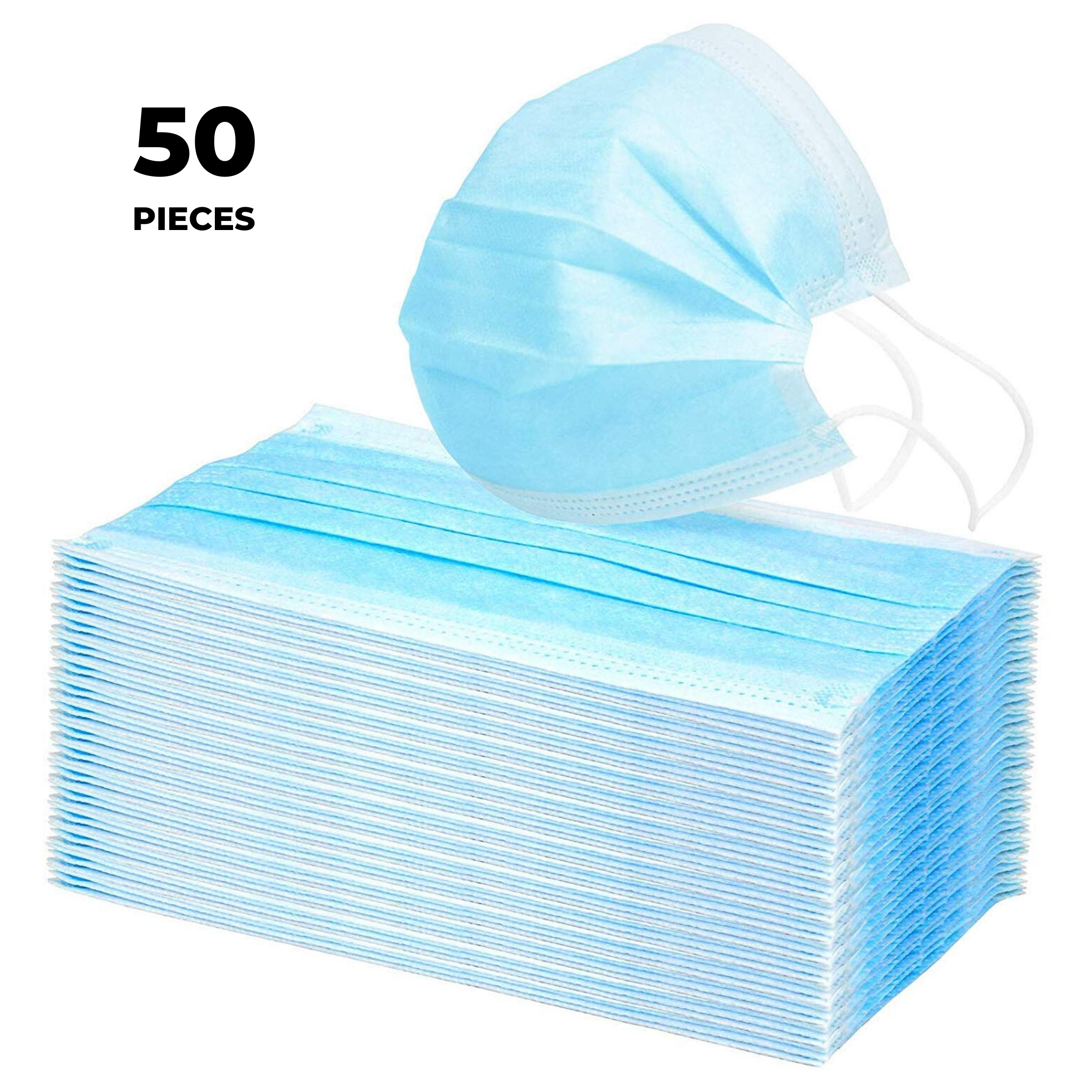 50 Pcs of Disposable Face Masks - 3 Layers of Protection - High Quality