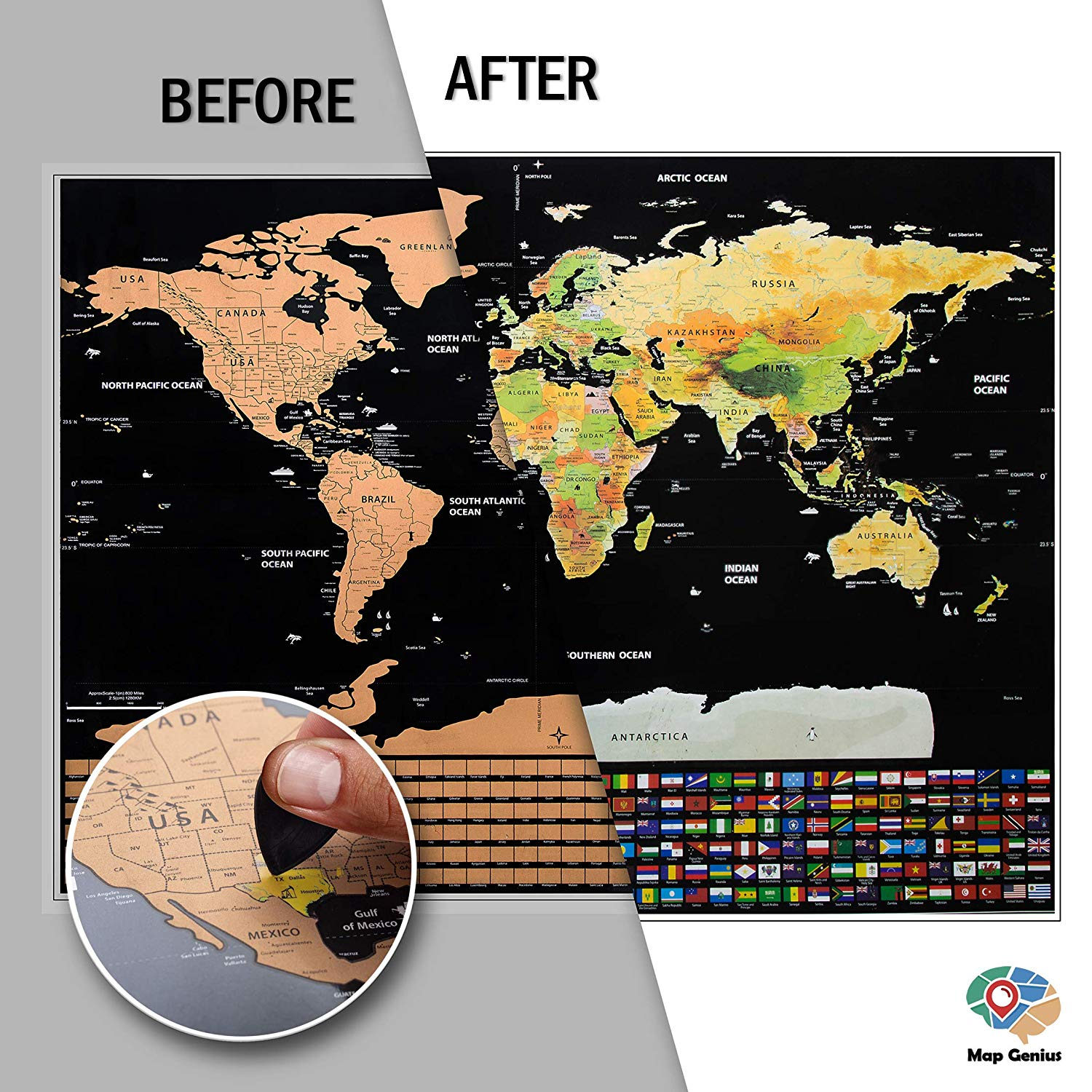 Scratch Off World Map Poster + Deluxe United States Map –Includes Complete Accessories Set & All Country Flags – Premium Wall Art Gift for Travelers