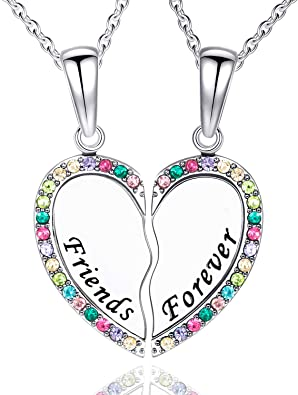 Sincere Best Friend Necklaces for 2 BFF Heart Friendship Jewelry Bridesmaid Gifts for Teens Girls Wo