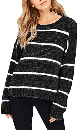 Viottiset Women's Striped Pullover Crew Neck Chenille Knit Sweater Loose Top