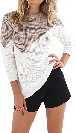 Makkrom Womens Winter Knitted Pullover Sweaters Raglan Long Sleeve Color Block Casual Knitwear