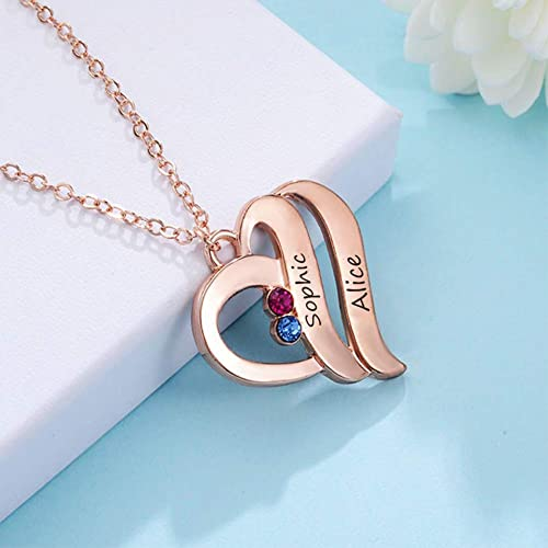 Custom Double Name Necklace with Heart Shape, Personalized Birthstone Engraved Necklace Mother Penda