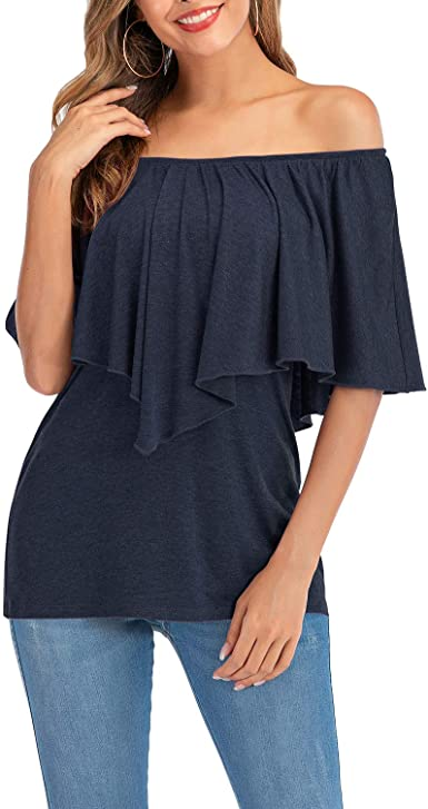AMCLOS Womens Tops Off Shoulder Ruffled Flounce Tunic Casual Soft T-Shirts Summer Blouses Short Slee