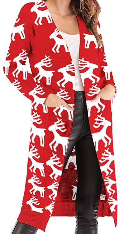 HEQU Womens Oversized Open Front Christmas Reindeer Knit Long Cardigan Fall Sweater Coat Outwear wit